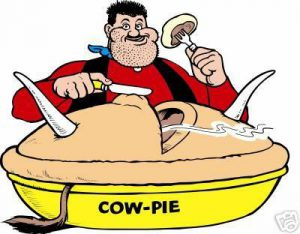 Desperate Dan eating cow pie