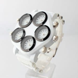 5 movement waterproof watch white