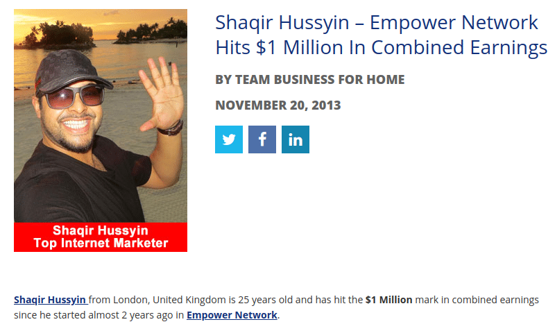 Shaqir Hussyin Empower Network top earner
